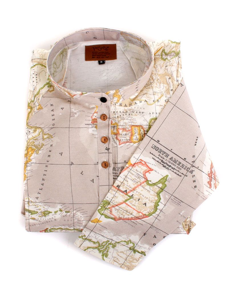 peSeta beige map shirt dress