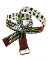 reversible belt with african fabric and leather reinforcement made in spain