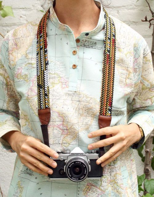 peSeta cotton and leather reversible camera strap made in Spain