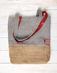Grey sackcloth totebag made for Mahou by peSeta.