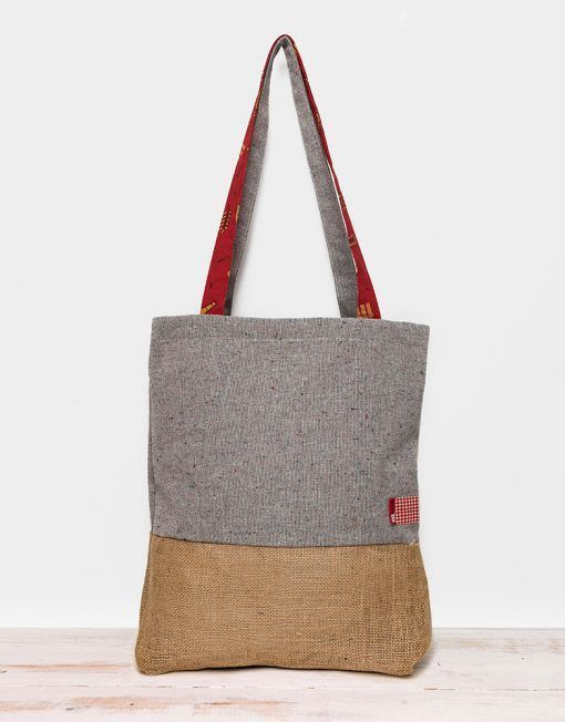 Grey motted and brown sackcloth totebag made for Mahou by peSeta.