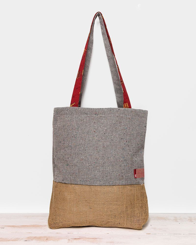 Grey motted and brown sackcloth totebag made forMahou by peSeta.