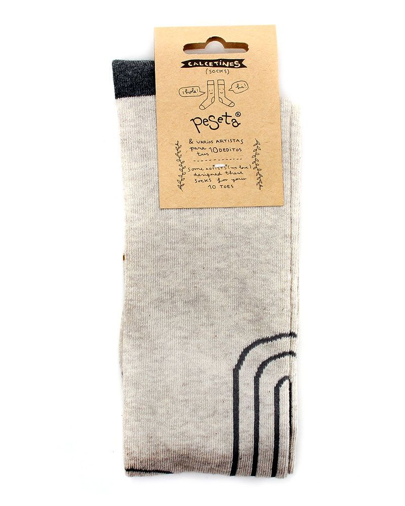 Long grey socks designed by artist Elena Alonso