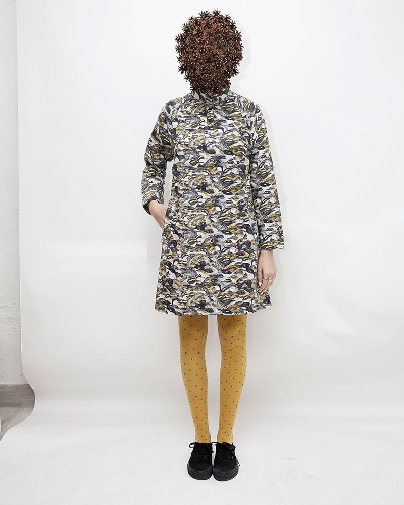 Blue printed dress with original birds pattern. Shirt dress with Mao neck.