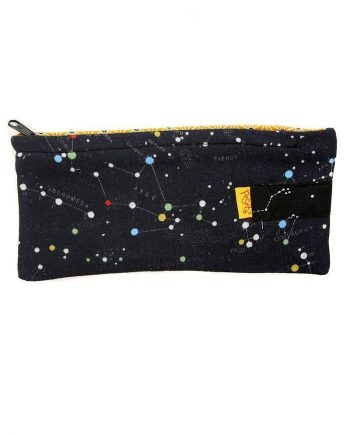 dark blue and yellow pencil case with Original constellation pattern by peSeta.
