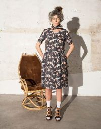 Marbled shirt dress with pockets. Pattern designed by illustrator Brianda Fitz-James Stuart