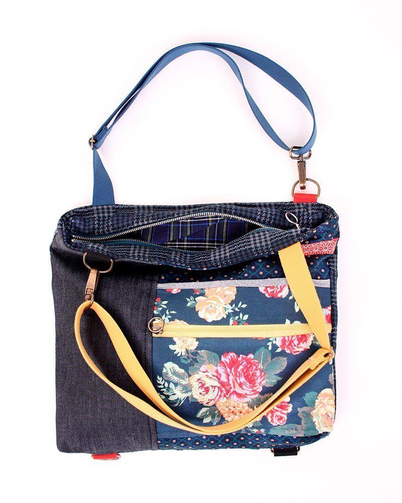 Three bags in one! Colorful flowers printed backpack convertible into a bag.