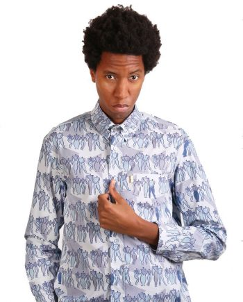 Long sleeve light blue pattern shirt for men.