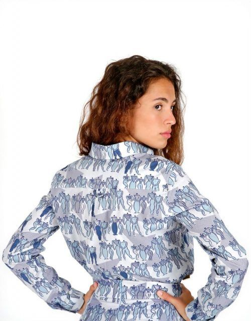 Long sleeve light blue pattern shirt for women
