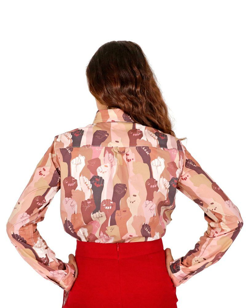 Long sleeve shirt with multicolored women hands.