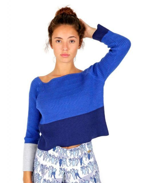 Blue knit jersey 100% merino wool