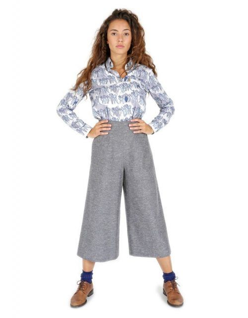 Original wide leg palazzo grey pants with printed pocket