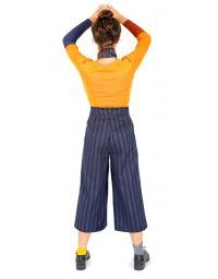 Elegant palazzo blue striped pants with printed pockets
