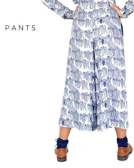 printed blue pants slow fashion by peSeta made in Spain