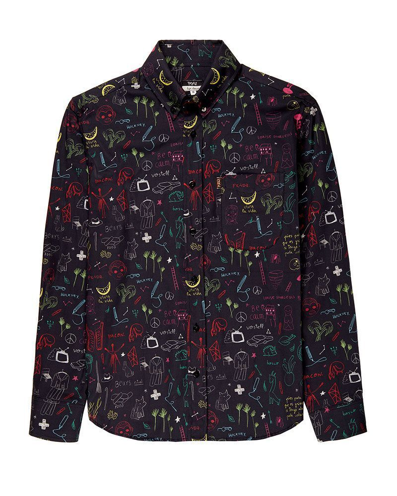 Black long sleeve men shirt. Pattern designed by peSeta from drawings by artistAitor Saraiba.
