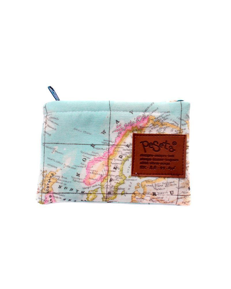 light blue worldmap pattern original wallet