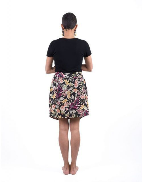 Crossed skirt one size fits all with dark floral print.
