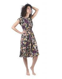 Open back dark flowers print dress with a knot.