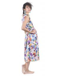 Printed button midi dress with colorful women illustration pattern.