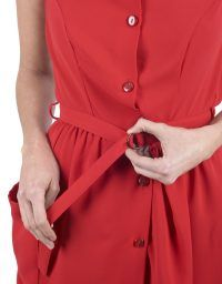 Red button midi dress. No sleeves,youthful silhouette that falls to above the ankle.
